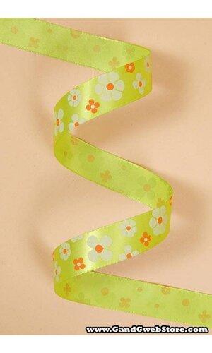 "7/8"" X 25YDS SINGLE FACE SATIN W/PRINTED FLOWERS APPLE GREEN #550"