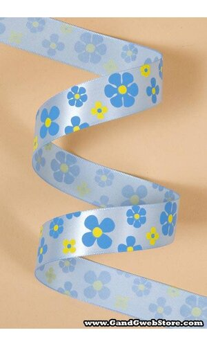 "7/8"" X 25YDS SINGLE FACE SATIN W/PRINTED FLOWERS BLUE TOPAZ #308"