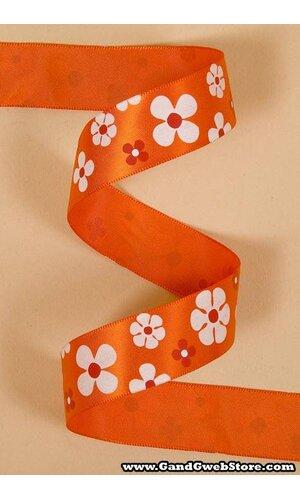 "7/8"" X 25YDS SINGLE FACE SATIN W/PRINTED FLOWERS TORRID ORANGE #750"