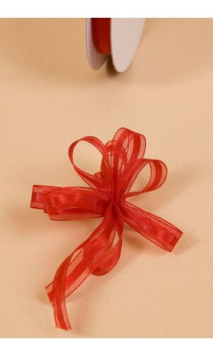 """3/8"""" X 25YDS SHEER PULL BOW RIBBON RED"""