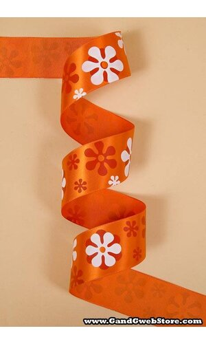 "1-1/2"" X 25YDS SINGLE FACE SATIN W/PRINTED FLOWERS TORRID ORANGE #750"