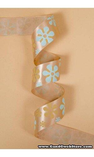 "1-1/2"" X 25YDS SINGLE FACE SATIN W/PRINTED FLOWERS TAN #835"