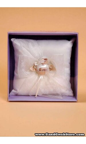 RING PILLOW W/BOW ORGANZA IVORY