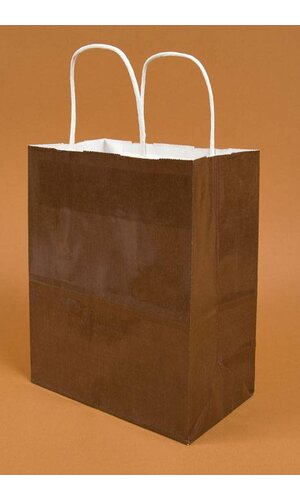 "8"" X 5"" X 10'' CUB GLOSS SHOPPING BAG CHOCOLATE PKG/10"