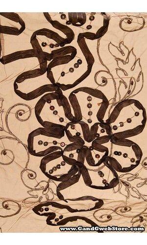 "27"" X 108"" SHEER FABRIC W/SATIN FLOWERS BROWN/BEIGE"