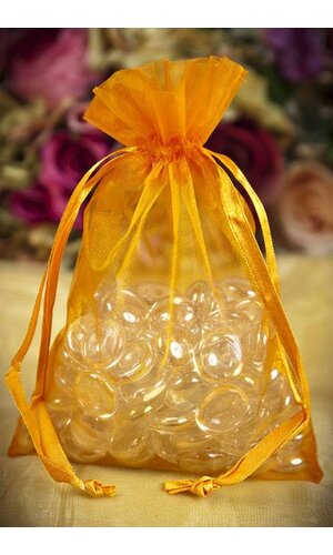 "5"" X 7"" ORGANZA POUCHES ORANGE PKG/12"