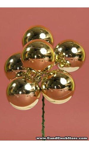 50MM SHINY BALL PICK GOLD PKG/6