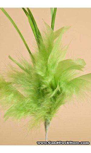 "14"" OWL FEATHER SPRAY APPLE GREEN PKG/12"