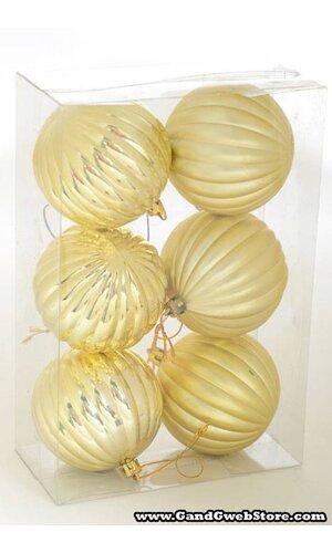 80MM SHINY/MATTE PLASTIC PUMPKIN BALL GOLD PKG/6