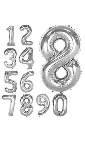 """40"""" NUMBERS FOIL BALLOON SILVER"""