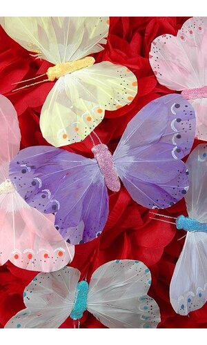"""5"""" PASTEL BUTTERFLY ASSORTED PKG/12"""