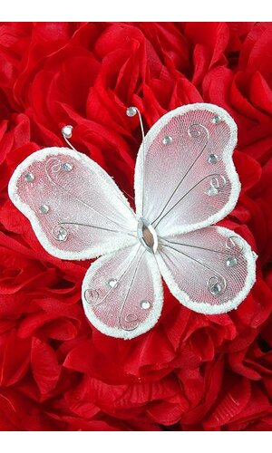 """5"""" WIRED DECORATION BUTTERFLY WHITE PKG/20"""