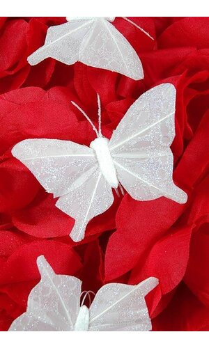 "3"" NYLON WHOLESALE ARTIFICIAL BUTTERFLY WHITE PKG/12"