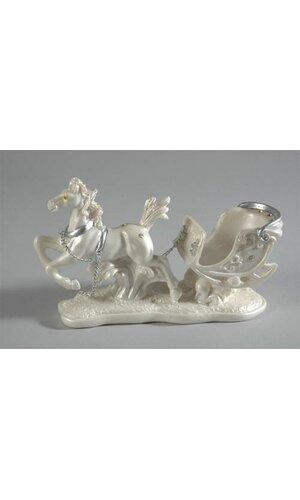 POLY RESIN HORSE W/COACH WHITE EA