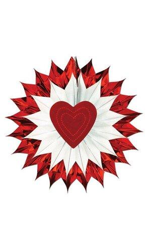"""15"""" HEART FAN-BURST RED/WHITE"""