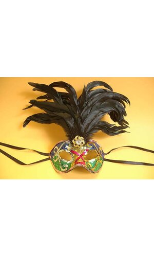 EYES MASK W/SEQUIN/FEATHER MULTICOLOR
